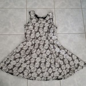 Knit Work Girls Floral Dress, Black/White, 16